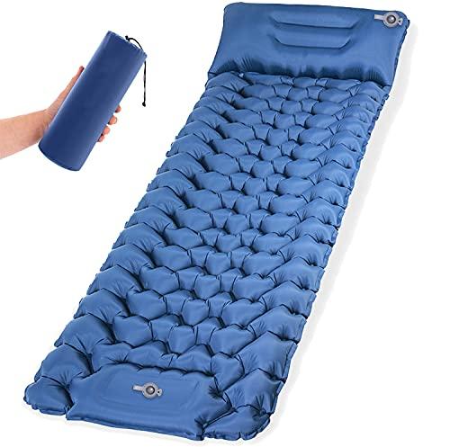 Isomatte Camping Schlafmatte mit Fußpresse Pumpe 9cm Dick Isomatte Selbstaufblasend langlebige...