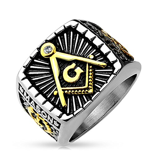 Autiga Freimaurer Ring Herren Edelstahl Tempelritter Ring Masonic Siegelring Symbol G Winkel und Zirkel...