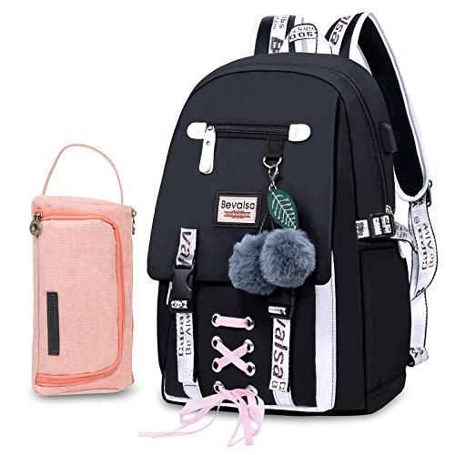 Bevalsa Schulrucksack mit Federmäppchen Schultaschen-Set für Mädchen Teenager Damen Schulranzen...