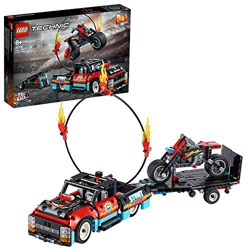 LEGO 42106 Technic Stunt-Show mit Truck und Motorrad, 2-in-1 Modell mit Rückziehmotor und Anhänger,...