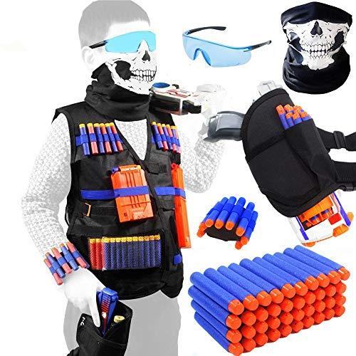 Meiqils 45pcs Einsatzwestenset für Nerf-Spielzeugwaffen N-Strike Elite Serie mit Gesichtsmaske +...