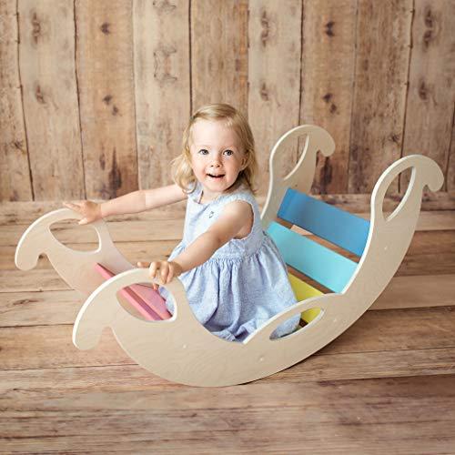 Nobsi Bunte Bogenwippe aus Holz - handgefertigter Kletterbogen, Kletter-Brücke für Babys und Kinder,...
