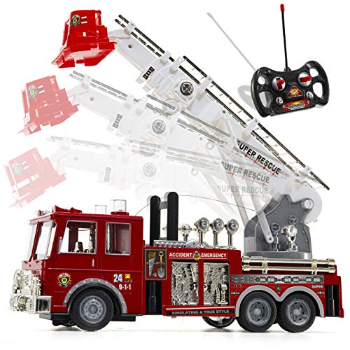 Prextex 13'' Ferngesteuertes Feuerwehrauto mit Blaulicht, Sirene und ausziehbarer Leiter, Bestes Geschenk...
