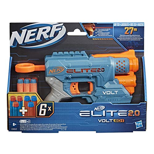 NERF Hasbro E9952EU4 Elite 2.0 Volt SD-1 Blaster – 6 Darts, Ziel-Lichtstrahl, 2-Dart Aufbewahrung, 2...