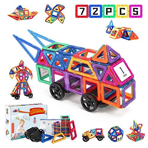 Fansteck Magnetische Bausteine, 3D Magnet Spielzeug Kinder, 72PCS Magnetbausteine Montessori,...