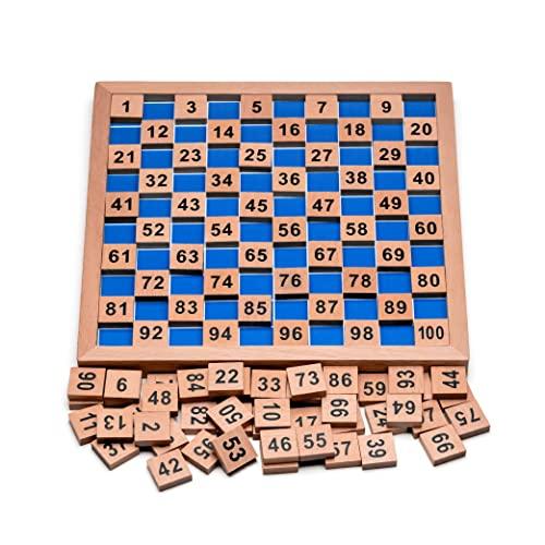 Montessori Mathematik Puzzle Spielzeug aus Holz zum Zahlen Lernen mit Zahlenfeldern und Ziffern, Bunt /...