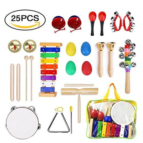 ULIFEME Musikinstrumente Kinder, 25PCS Holzspielzeug Musical Percussion Instrumente Set für Kleinkinder...