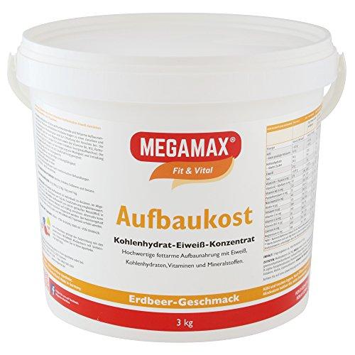 MEGAMAX Aufbaukost Erdbeere 3 kg - Ideal zur Kräftigung und bei Untergewicht. Proteinpulver zur...