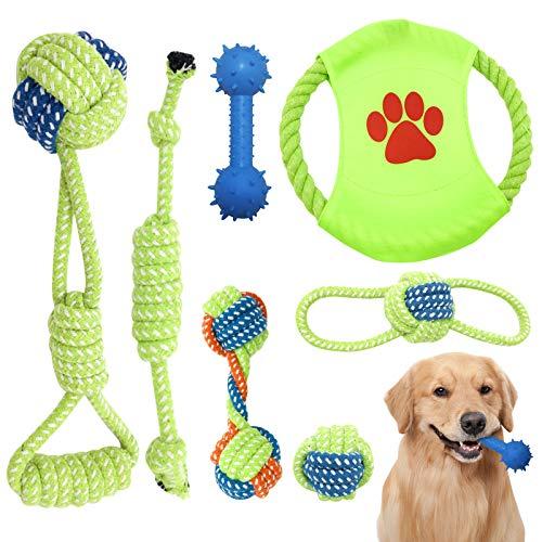 AidSci 7-teiliges Hundespielzeug-Set, Plüschtiere für Haustiere, aus natürlicher Baumwolle, ungiftig,...