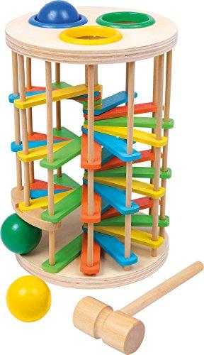 small foot 2019341 6569 Klopfkugelturm Groß aus Holz, Klopfspiel mit drei Kugeln und einem Hammer, ab 18...