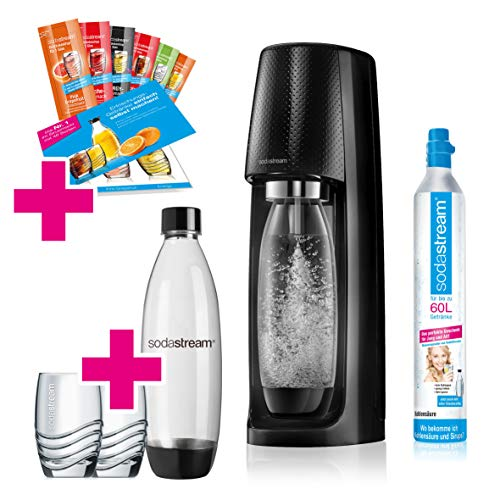 SodaStream Easy Wassersprudler-Set Promopack mit CO2-Zylinder, 2x 1 L PET-Flasche, 2x Trinkgläser, 6x...