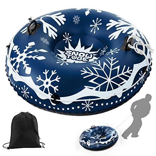 ZEHNHASE Aufblasbare Schlitten für Erwachsene Kinder, 47 Zoll Schwerlast Snow Tube mit Griffen für...