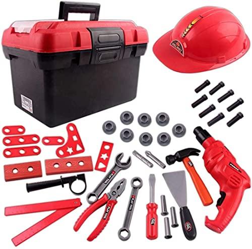 deAO Tolles Kinder Werkzeug Spielset mit Werkzeugkasten, baterriebetriebener Bohrmaschiene und großen...