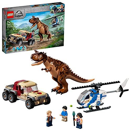 LEGO 76941 Jurassic World Verfolgung des Carnotaurus Spielzeug mit Helikopter und Pickup für Jungen und...