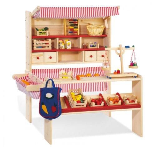 Pinolino Marktstand Lucy, massives Holz, besonders standfest, Tresen rechts oder links montierbar, für...