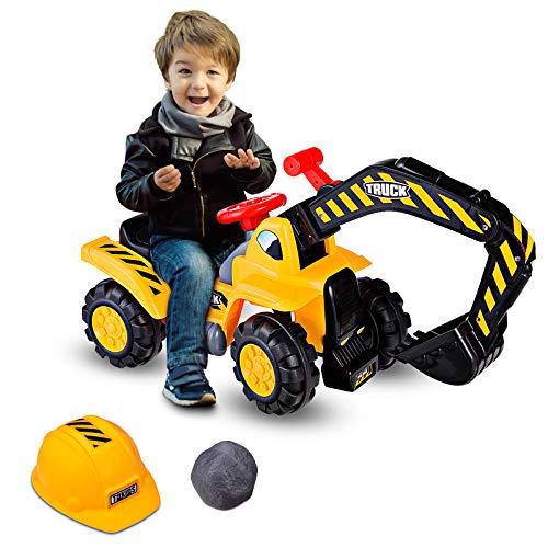 GOPLUS Sitzbagger Kinderbagger, Kinderfahrzeug Pedalfrei inkl. Schutzhelm und Künstlicher Steine,...