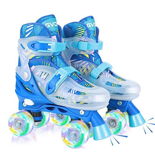 GVDV Rollschuhe Kinder Verstellbar - LED Roller Skates Beleuchtete für Jungen und Jugendliche, Quad...