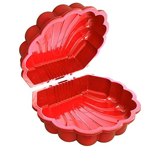 TikTakToo Sand & und Wassermuschel I Sandkasten mit Abdeckung (2-teilig) I (rot)