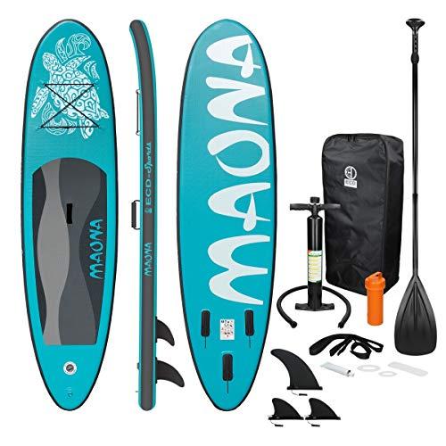 ECD Germany Aufblasbares Stand Up Paddle Board Maona | 308 x 76 x 10 cm | Türkis | PVC | bis 120kg |...