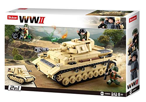 Sluban Klemmbausteine SL95565, WWII - Deutscher Panzer [M38-B0693], Spielset , Klemmbausteine, Soldaten,...