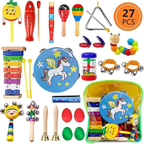 Yetech 27 Stück Musikinstrumente Musical Instruments Set, Holz Percussion Set Schlagzeug Schlagwerk...