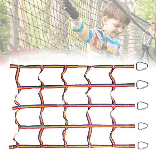 Shunfaji Kletternetz für Kinder im Freien, Regenbogenband Körperliches Training Kletternetz, Ninja...