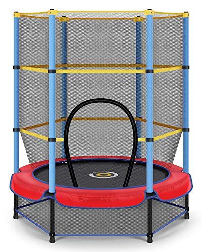 CAMBIVO Trampolin Kinder, Trampolin Indoor Klein mit verschließbares Sicherheitsnetz 139cm,...