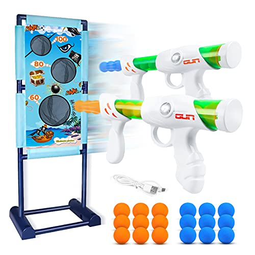 DX DA XIN Bewegliche Zielscheibe Set, Ziel Schießen Spielzeugpistolen für Kinder mit 2Pcs Popper Gun...