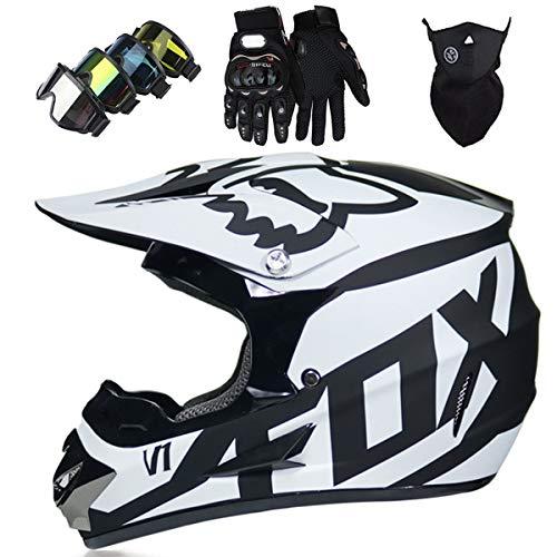 Motorradhelm - Motocross Helm Set - Dirt Bike Fullface Offroad Motorrad Helm mit Schutzbrille Geeignet...