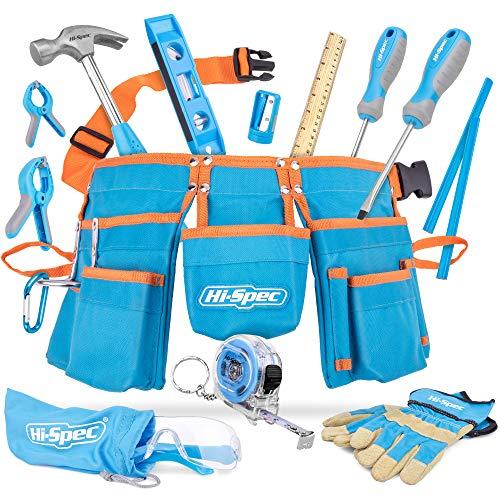 Hi-Spec 16-teiliges Kinder-Werkzeug-Kit mit Werkzeuggürtel in Kindergröße, Arbeitshandschuhen aus...