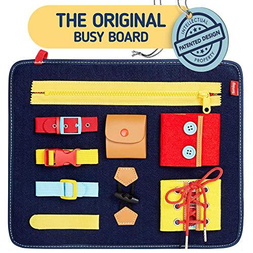 Montessori Spielzeug - Busy Board Motorikbrett für Fertigkeiten und Selbst Anziehen - Baby...
