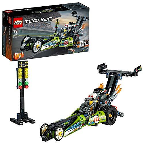 LEGO 42103 Technic Dragster Rennauto oder Hot Road, 2-in-1 Set mit Rückziehmotor, Sammlung von Dragster...