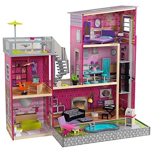 KidKraft 65833 Uptown Puppenhaus aus Holz mit Möbeln und Zubehör, Spielset mit drei Spielebenen für 30...