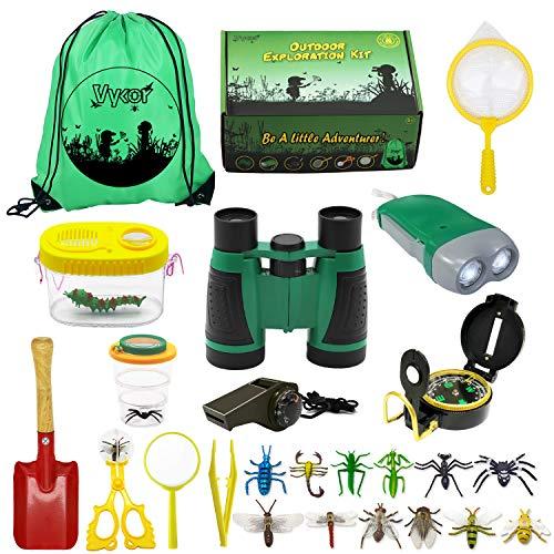 Vykor Draussen Forscherset Spielzeug&Bug Catcher Kit 25 Stück mit Kinder fernglas,Bug...