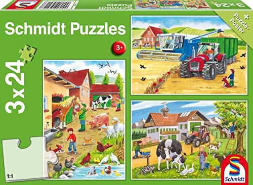 Schmidt Spiele 56216 Auf dem Bauernhof, 3x24 Teile Kinderpuzzle