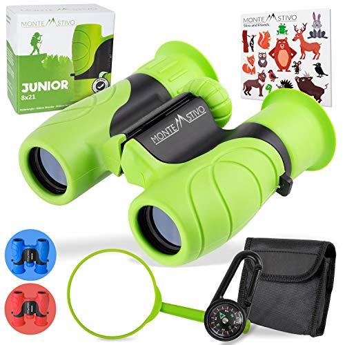 Monte Stivo® Junior | Vergleichssieger Fernglas für Kinder 8x21 mit Lupe & Kompass | Geschenk-Set...