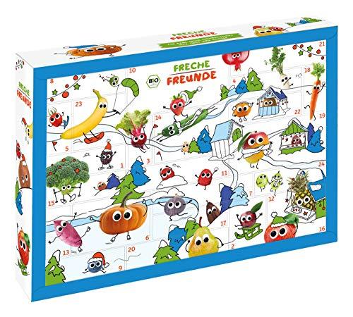 FRECHE FREUNDE Bio Adventskalender, Weihnachtskalender gefüllt mit Bio Kinder-Snacks & Spaß, ohne...