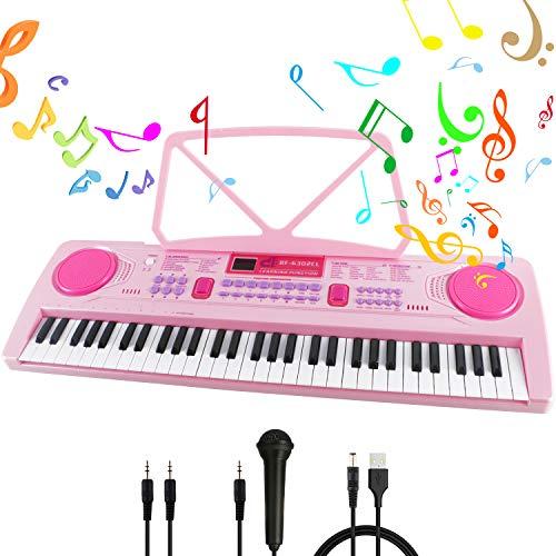 RenFox Klaviertastatur 61 Leuchttasten Elektronische Klaviertastatur Einsteiger Tragbarer Elektronischer...