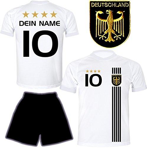 DE FANSHOP Deutschland Trikot mit Hose & GRATIS Wunschname + Nummer #D5 2021 2022 EM/WM Weiss - Geschenk...