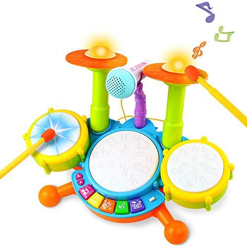 Kinder Trommel Spielzeug Musikinstrumente für Kleinkinder Mit Kinderreimen Elektronisches Schlagzeug...
