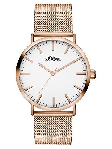 s.Oliver Damen Analog Quarz Armbanduhr mit Edelstahlarmband SO-3146-MQ