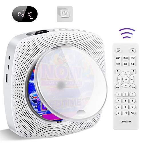 Tragbarer CD Player, an der Wand montierte Home Audio Bluetooth Boombox, HiFi Lautsprecher, FM Radio, USB...