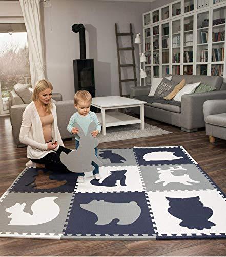Hakuna Matte große Puzzlematte für Babys 1,8x1,8m – 9 XXL Platten 60x60cm mit Tieren – 20% dickere...