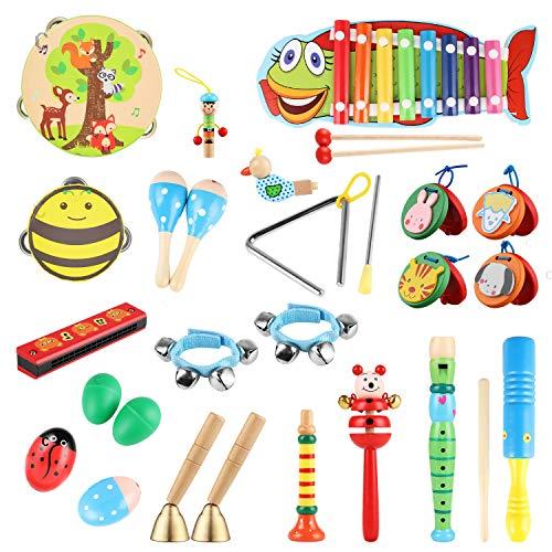 Yissvic Musikinstrumente Musical Instruments Set Spielzeug von Holz Percussion Schlagzeug Schlagwerk...