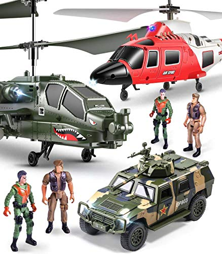 SYMA 2er Ferngesteuerter Hubschrauber Set, Helikopter ferngesteuert, S109G S111G RC Hubschrauber, 2 in 1...