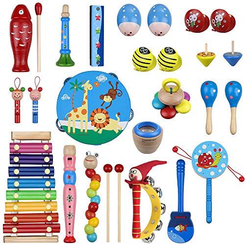 Anpro 27 Stück Musikinstrumente Set, Musical Instruments Spielzeug Schlagzeug, Kinder Schlaginstrument...
