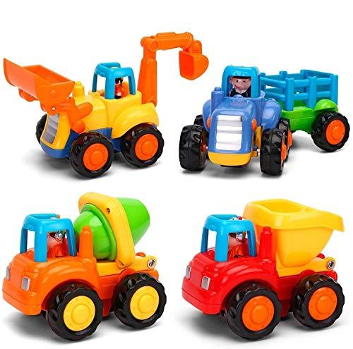 Spielzeugautos: 4 Baufahrzeuge in einem Set