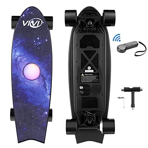 Vivi H2E Elektro Skateboard mit eingebautem bunten Licht, Elektro Longboard mit Fernbedienung, 350W...