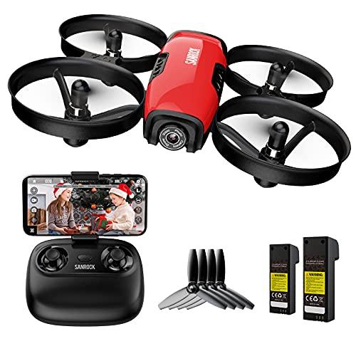 SANROCK Drohne mit Kamera für Kinder Anfänger, RC Quadcopter mit WiFi FPV Kamera, U61W Mini Drone...