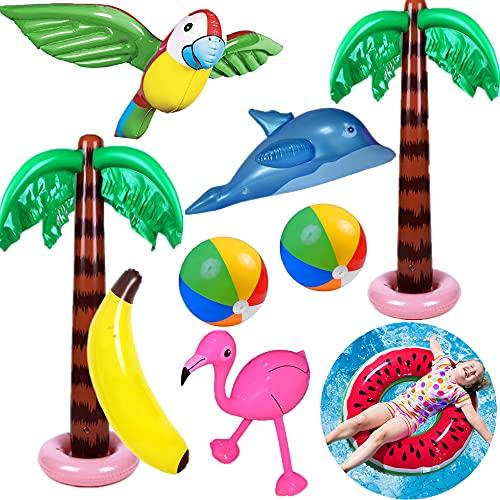 Yetech Aufblasbare Palmen Baum Strand Spielzeug Set, 9PCS Aufblasbare Palmen Flamingo Spielzeug,90 cm...